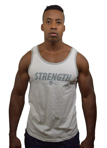 Men's Strength Tank - White/Heather Grey