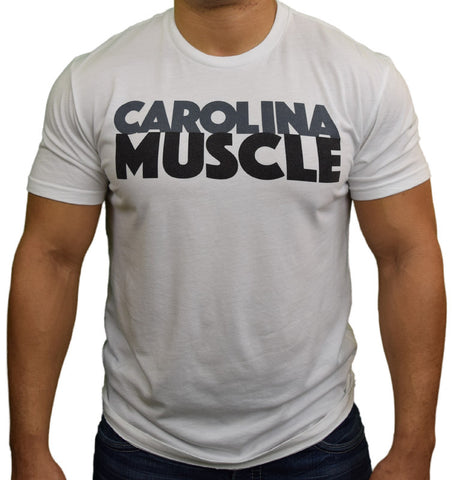 White Carolina Muscle Stacked Tee