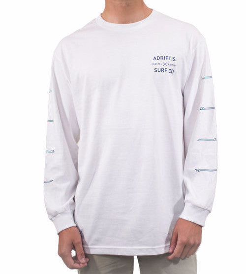 Mens Coastal LS Tee - White | Adrift Essentials Online Shopping | Surf Collective of Male & Female Clothing & Accessories