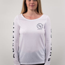 Womens LS White Tee | Adrift Essentials Online Shopping | Surf Collective of Male & Female Clothing & Accessories