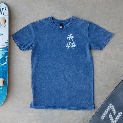 SideWalk Surfin Tee ~ Blue Acid Wash | Adrift Essentials Online Shopping | Surf Collective of Male & Female Clothing & Accessories