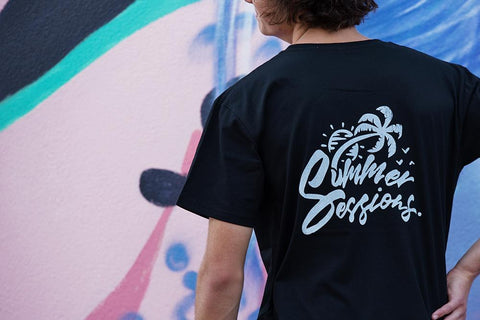 Summer Sessions Tee ~ Black | Adrift Essentials Online Shopping | Surf Collective of Male & Female Clothing & Accessories