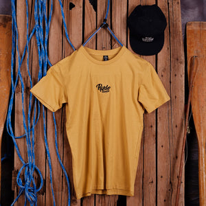 LOGO EMBROIDERED TEE - MUSTARD YELLOW | Adrift Essentials Online Shopping | Surf Collective of Male & Female Clothing & Accessories