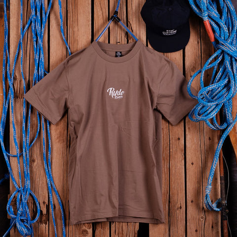 STOKED EMBROIDERED TEE ~ COFFEE BROWN | Adrift Essentials Online Shopping | Surf Collective of Male & Female Clothing & Accessories