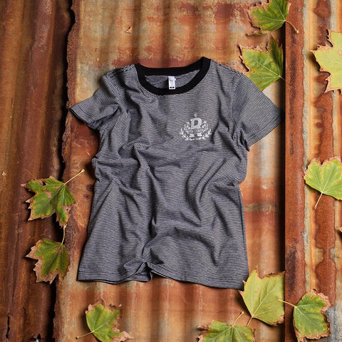 Ryde College Symbol ~ Womens Stripe tee | Adrift Essentials Online Shopping | Surf Collective of Male & Female Clothing & Accessories