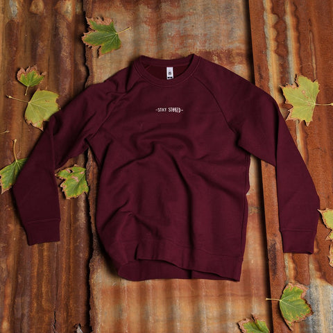 Stoked Crewneck - Burgundy | Adrift Essentials Online Shopping | Surf Collective of Male & Female Clothing & Accessories