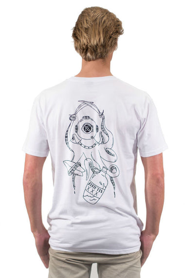 Mens Sea Buccaneer Tee - White | Adrift Essentials Online Shopping | Surf Collective of Male & Female Clothing & Accessories