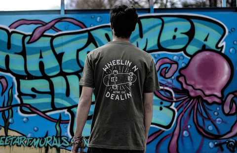 Wheelin n Dealin Tee ~ Army Green | Adrift Essentials Online Shopping | Surf Collective of Male & Female Clothing & Accessories