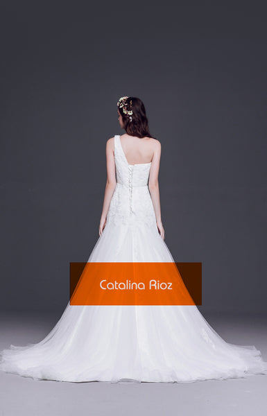 CR5612| Greek Goddess one shoulder style wedding dress