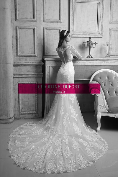 .Barbie|Aline style illusion back wedding dress with sleeves