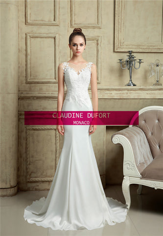 .Amal|Aline style illusion back wedding dress