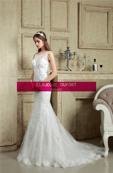Jasper|Ex photoshoot sample Aline style illusion back wedding dress