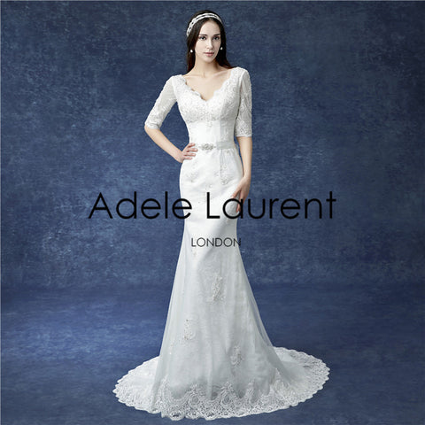 Alice| mermaid wedding dress with 3-4 sleeves