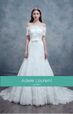 Jeanne| A line 1/2 sleeve wedding dress