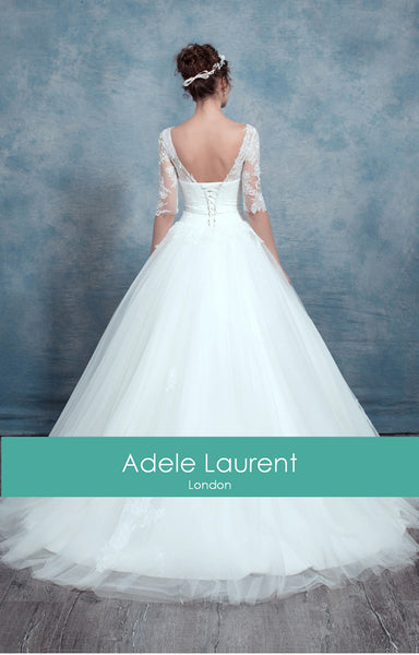 Charlotte Sample|Ballgown style wedding dress with  sleeves
