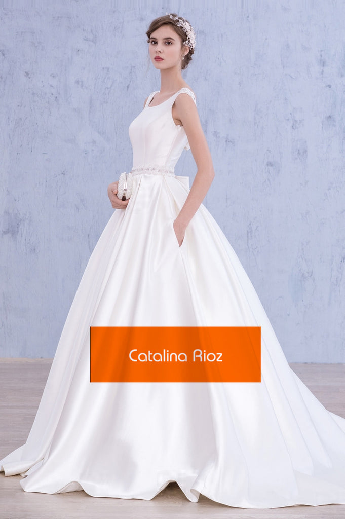 Silk ball gown style wedding dress – Dansant Bridal