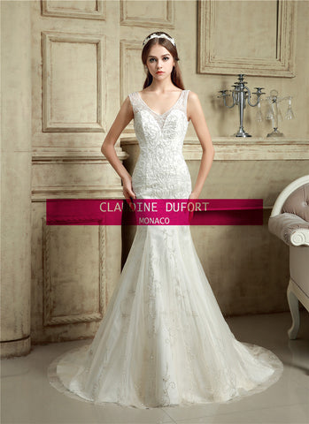 Claudine Dufort 5503|Ex photoshoot sample Size 8 illusion back wedding dress