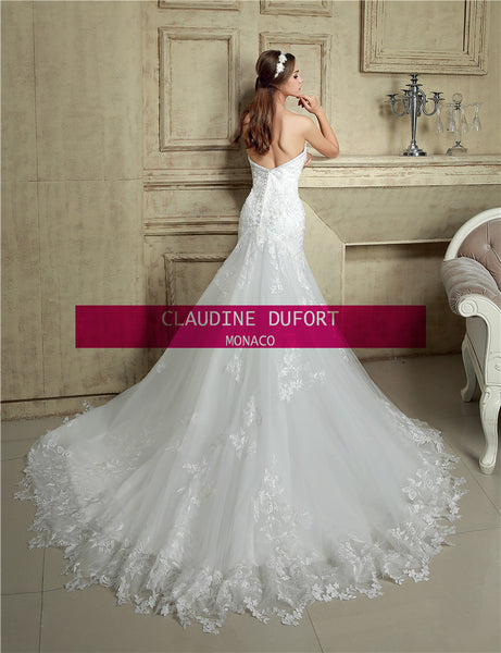 Claudine Dufort 5505|Ex photoshoot sample Size 8 illusion back wedding dress