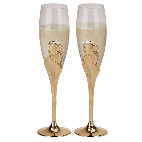"""Forever"" Gold Flutes, pair"