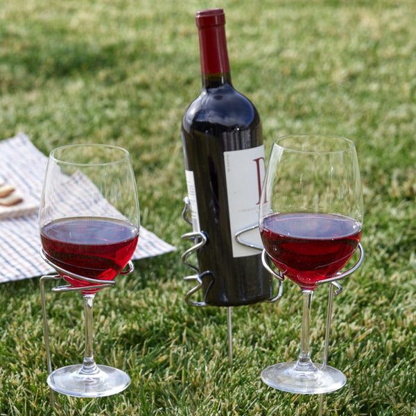 Picnic Stix Wine Bottle and Glass Holders
