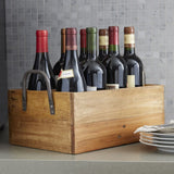 Wood Wine Carrier with Wrought Iron Handles