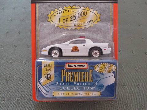 Modern New Matchbox Premiere Series 18 State Police Collection Utah Highway Patrol Die Cast Car