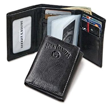 Jack Daniels Signature Collection Black Trifold Wallet With Embossed Logo