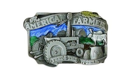 Modern New American Farmers Feed the World Belt Buckle, Painted Pewter - New