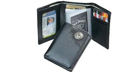 Officially Licensed Jack Daniels Black Trifold wallet with metal logo