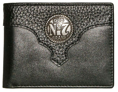 Modern New Jack Daniel's Wallet, Old No 7 Black Leather Trifold With Metal Concho