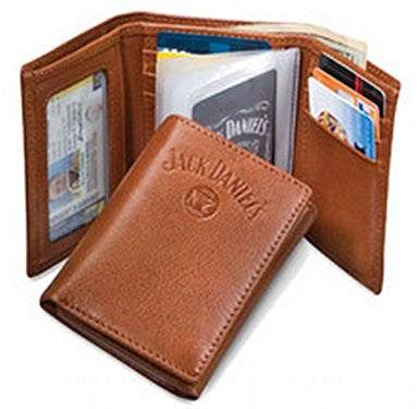 Jack Daniel's Brown Trifold Wallet Genuine Leather Signature Series