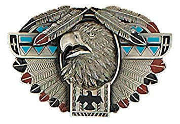 Modern New Thunderbird Totem Feather Buckle 3-3/4 x 2-1/4 Made in USA
