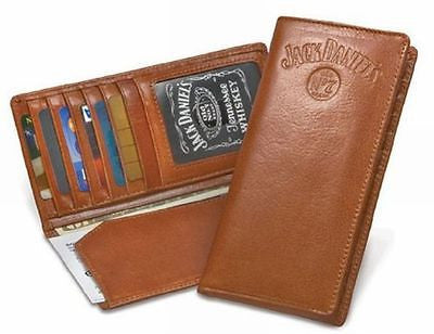 Jack Daniels Western Brown Leather Rodeo Wallet With Embossed Logo