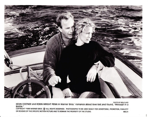 Vintage Kevin Costner & Robin Wright In Message In A Bottle 1999 Movie Promotional Photograph Black & White