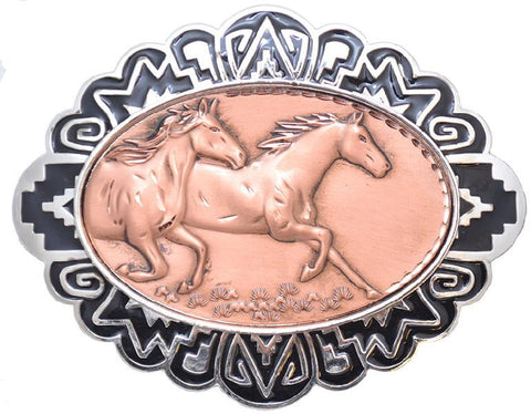 "Modern New Solid Copper & Pewter BELT BUCKLE - RUNNING HORSES 4"" X 3"" - C-35 - New"
