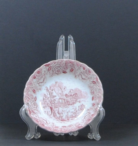 Vintage 1950s English Country Scenes Berry Bowl, Red Pink Transferware