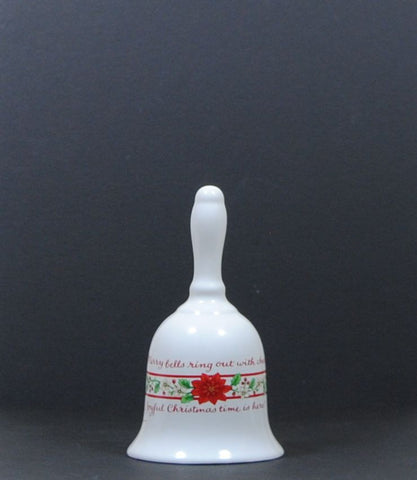 Vintage Christmas Bell White Ceramic with a Floral Band of Red Poinsettias, Holly & Christmas Tidings