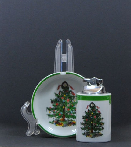 Vintage Christmas Ashtray and Matching Lighter, by YuleTide, Christmas Tree & Holiday Presents