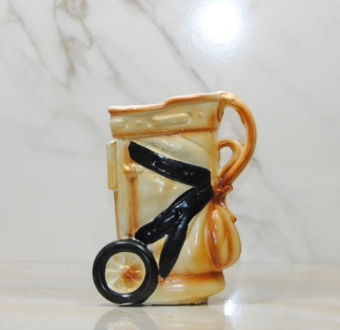 Ceramic Golf Bag Planter, Golf Bag Mug, Hand Painted, Golf Collectible