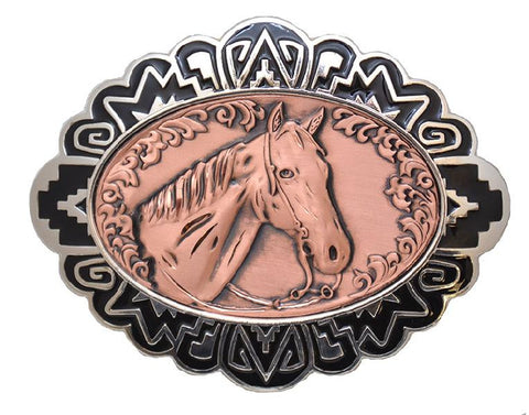 "Modern New Solid Copper & Pewter BELT BUCKLE - HORSEHEAD 4"" X 3"" - C-10 - New"