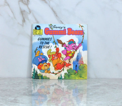 Vintage 1985 Walt Disney's Gummie Bears Gummies To The Rescue Read Along Book And Record