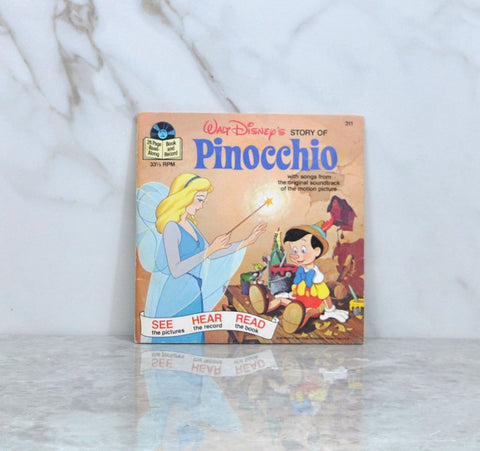 Vintage 1985 Walt Disney's Story Of Pinocchio Book And Record 33 1/3 RPM Record Disneyland Records
