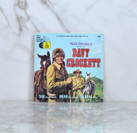 Vintage 1985 Walt Disney's Story Of Davy Crockett Book And Record 33 1/3 RPM Record Disneyland Records