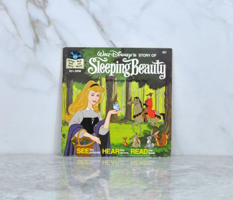 Vintage 1985 Walt Disney's Story Of Sleeping Beauty Book And Record 33 1/3 RPM Record Disneyland Records