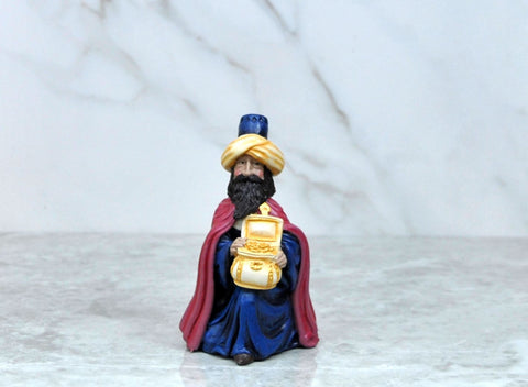 Vintage Bisque Wisemen In Red Cape Hand Painted Nativity Cracker Barrel Christmas Figurine 1996