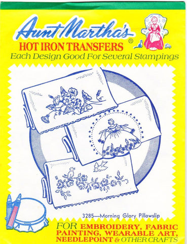 Vintage Aunt Martha's Hot Iron Transfers From Colonial Patterns RETIRED 3285 Morning Glory Pillowslip For Decorative Linens