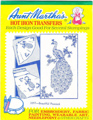 Vintage Aunt Martha's Hot Iron Transfers From Colonial Patterns RETIRED 3297 Beautiful Peacock For Decorative Linens