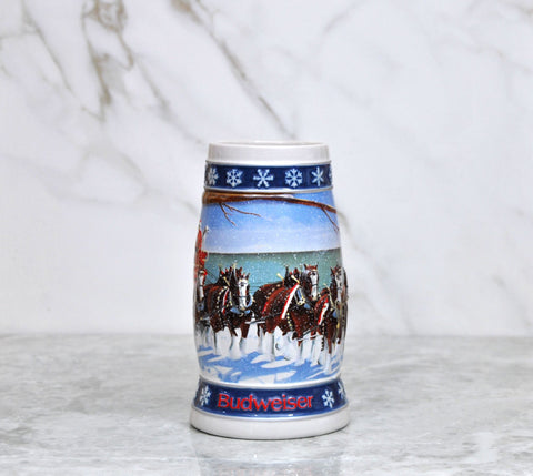 Vintage Budweiser Beer Stein - 1995 Holiday Lighting the way Home Handcrafted Expressly For Anheuser - Busch Inc. By Ceramarte In Brazil