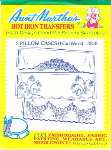 Vintage Aunt Martha's Hot Iron Transfers From Colonial Patterns RETIRED 3818 3 Pillow Cases 1 Cutwork