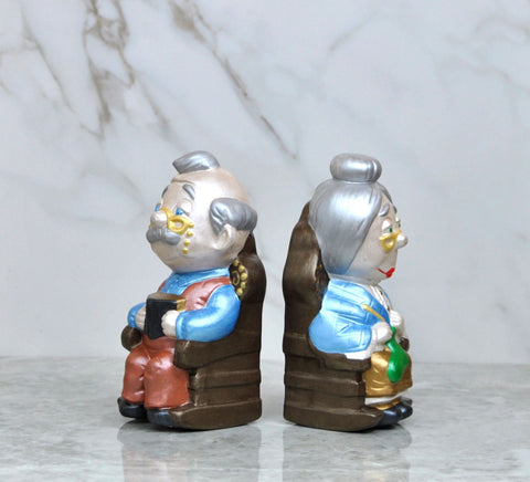 Vintage Grandma And Grandpa Ceramic Statues / Bookends From 1985 Signed S Calvin